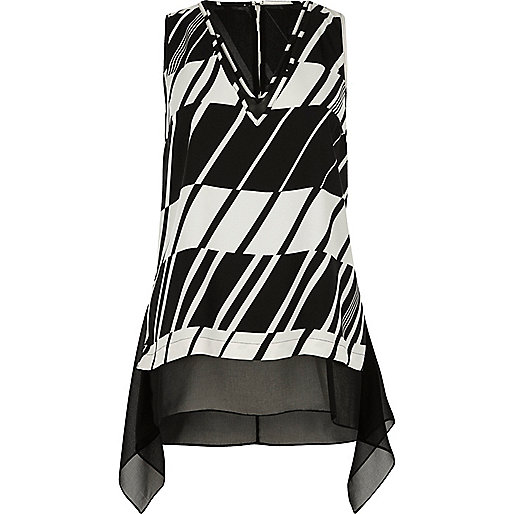 Black and white chiffon layer tank