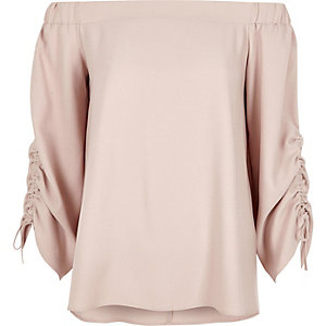 Pink satin ruched sleeve bardot top