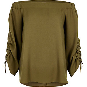 Khaki green satin ruched sleeve bardot top