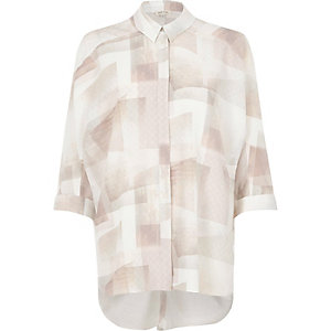 Pink and cream geo print oversized shirt