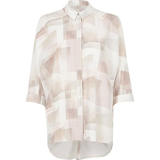 Pink and cream geo print oversized shirt