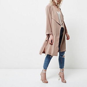 Petite light pink duster coat