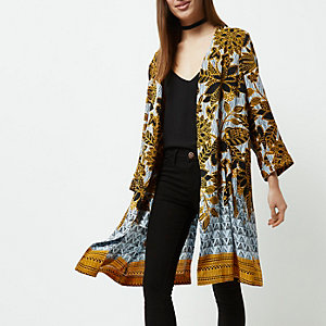Petite yellow floral print duster coat