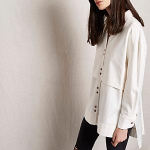 RI Studio – Chemise longue blanche à double épaisseur