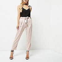 Petite nude tie waist tapered trousers