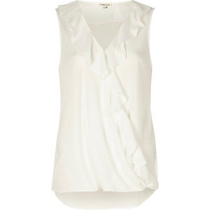 White frill front sleeveless blouse