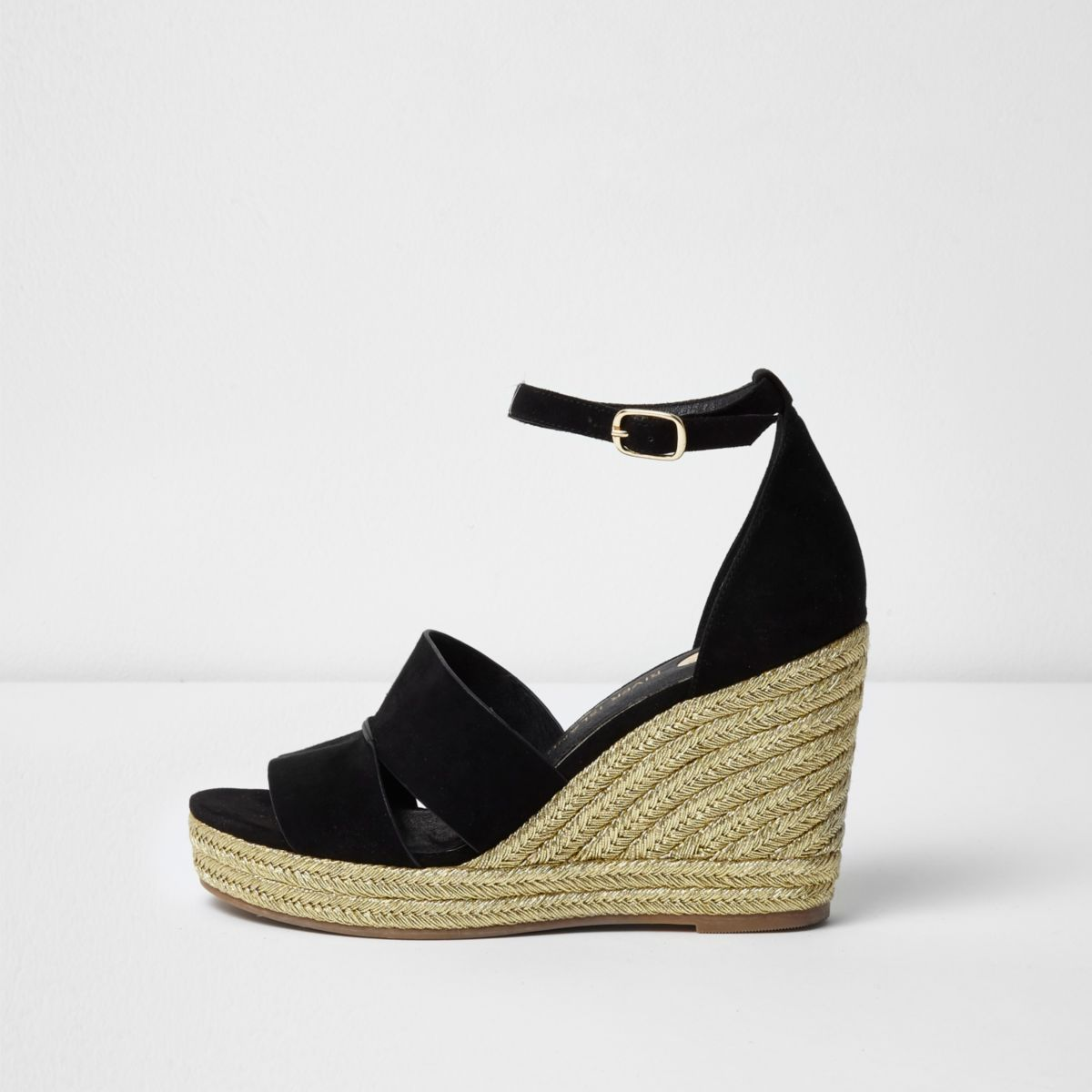 Black strappy gold espadrille wedges