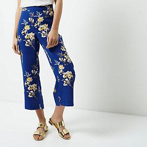 RI Petite - blauwe broekrok met bloemenprint