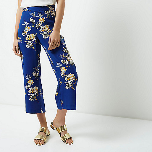 Petite blue floral print culottes