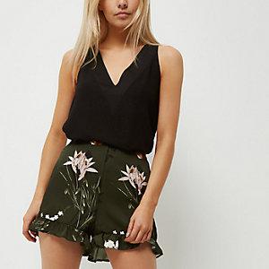 Petite khaki green floral print frill shorts