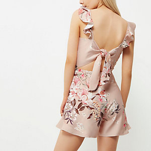 Pink floral frill cami playsuit