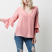 Petite pink double bell sleeve tie back top