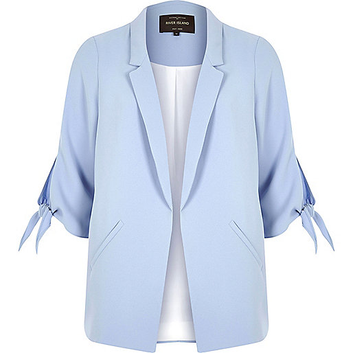 Light blue tie cuff blazer