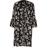 Black burnout floral print duster coat