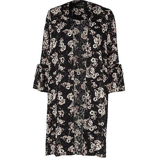 Black burnout floral print duster coat
