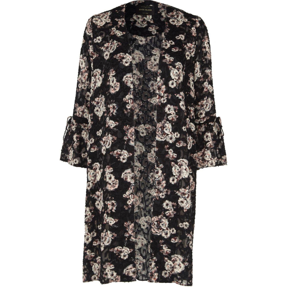 Manteau long à fleurs noir effet usé