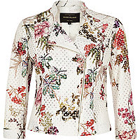 White floral print lace biker jacket