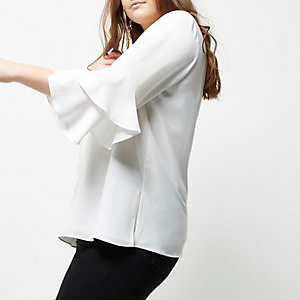 Plus white double bell sleeve top