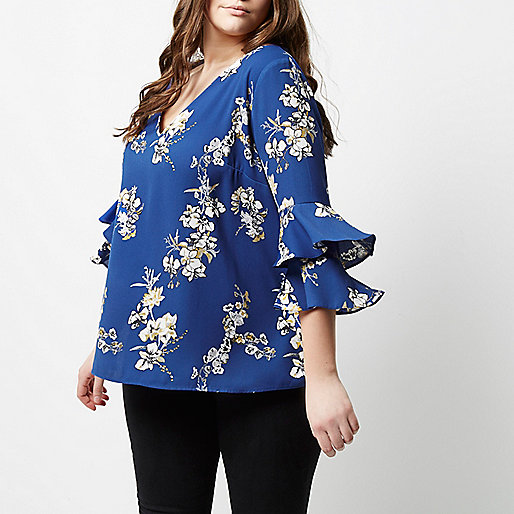 Plus blue floral double bell sleeve top