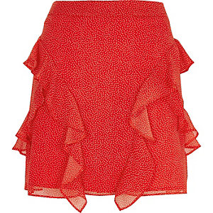 Red spot frill mini skirt