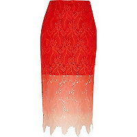 Red ombre lace midi pencil skirt