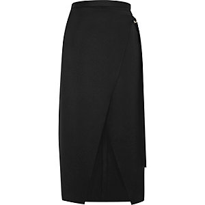 Black wrap ring detail midi skirt