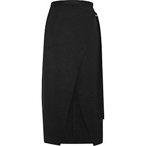 Jupe mi-longue noire coupe portefeuille avec anneau