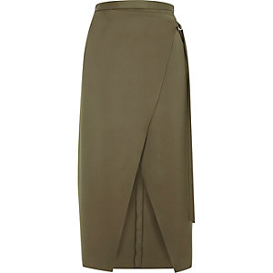 Khaki green wrap ring detail midi skirt