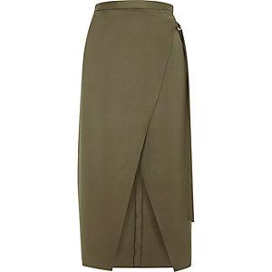 Brown wrap ring detail midi skirt
