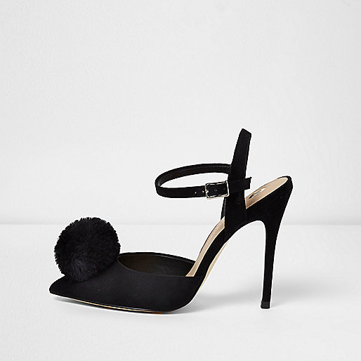 Black pom pom buckle pumps
