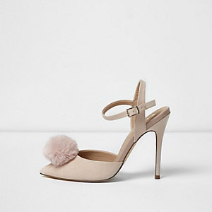 Light pink pom pom strappy court shoes