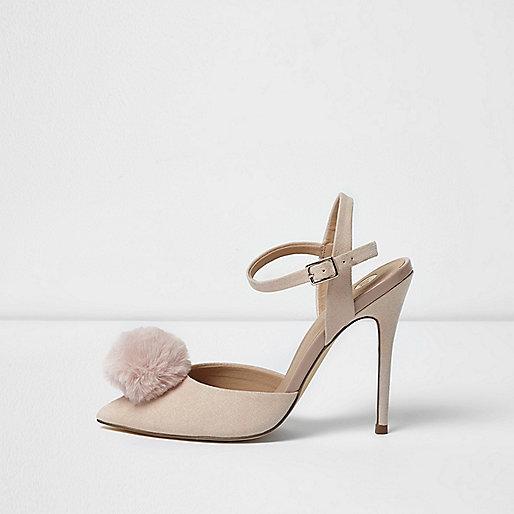 Light pink pom pom strappy court shoes