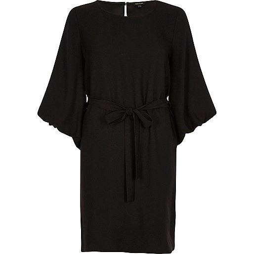 Black puffed sleeve tie waist dress