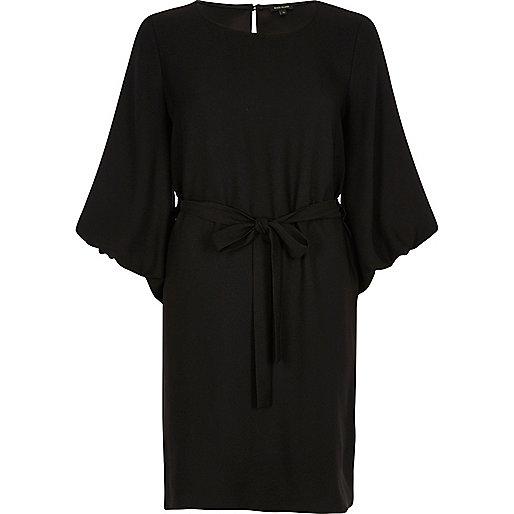 Black puffed sleeve tie waist dress