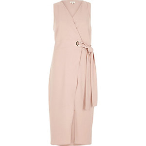 Pink tie waist wrap midi dress