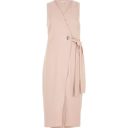 Pink tie waist wrap midi dress