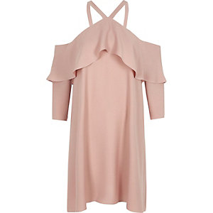 Pink cold shoulder frill swing dress
