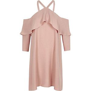 Pinkes Swing-Kleid mit Schulterausschnitten und Rüschen