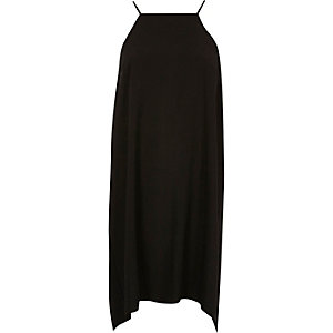 Black ruched swing slip dress
