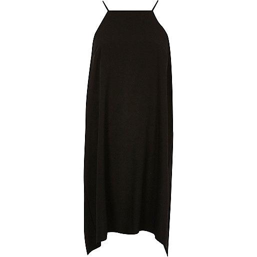 Black ruched swing slip dress