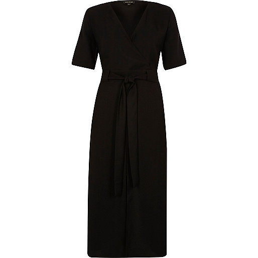 Black wrap short sleeve midi dress