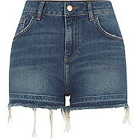 Blue released hem high waisted denim shorts