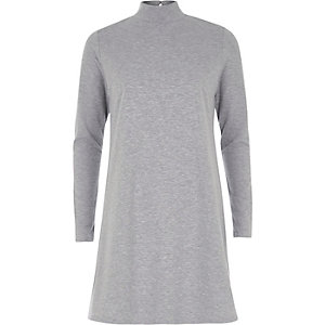 Grey turtleneck swing dress
