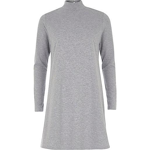 Grey turtleneck swing dress