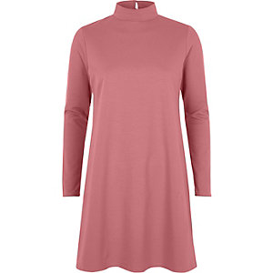 Pink turtleneck swing dress