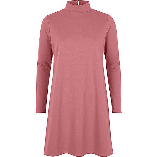 Pink turtleneck swing dress