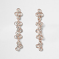 Rose gold tone rhinestone flower drop earrings