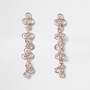 Rose gold tone rhinestone flower drop earrings