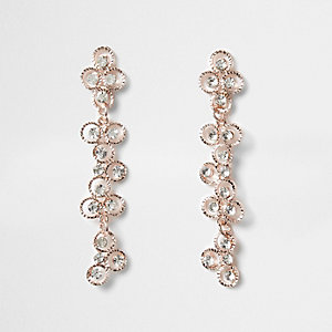 Pendants d'oreilles motif fleur couleur or rose à strass