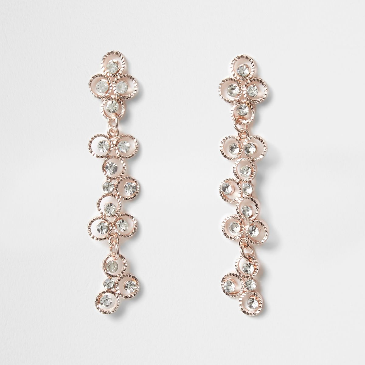 Rose gold tone diamante flower drop earrings